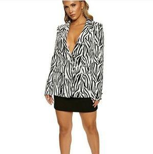 Naked Wardrobe Zebra Sequins Blazer - NWT